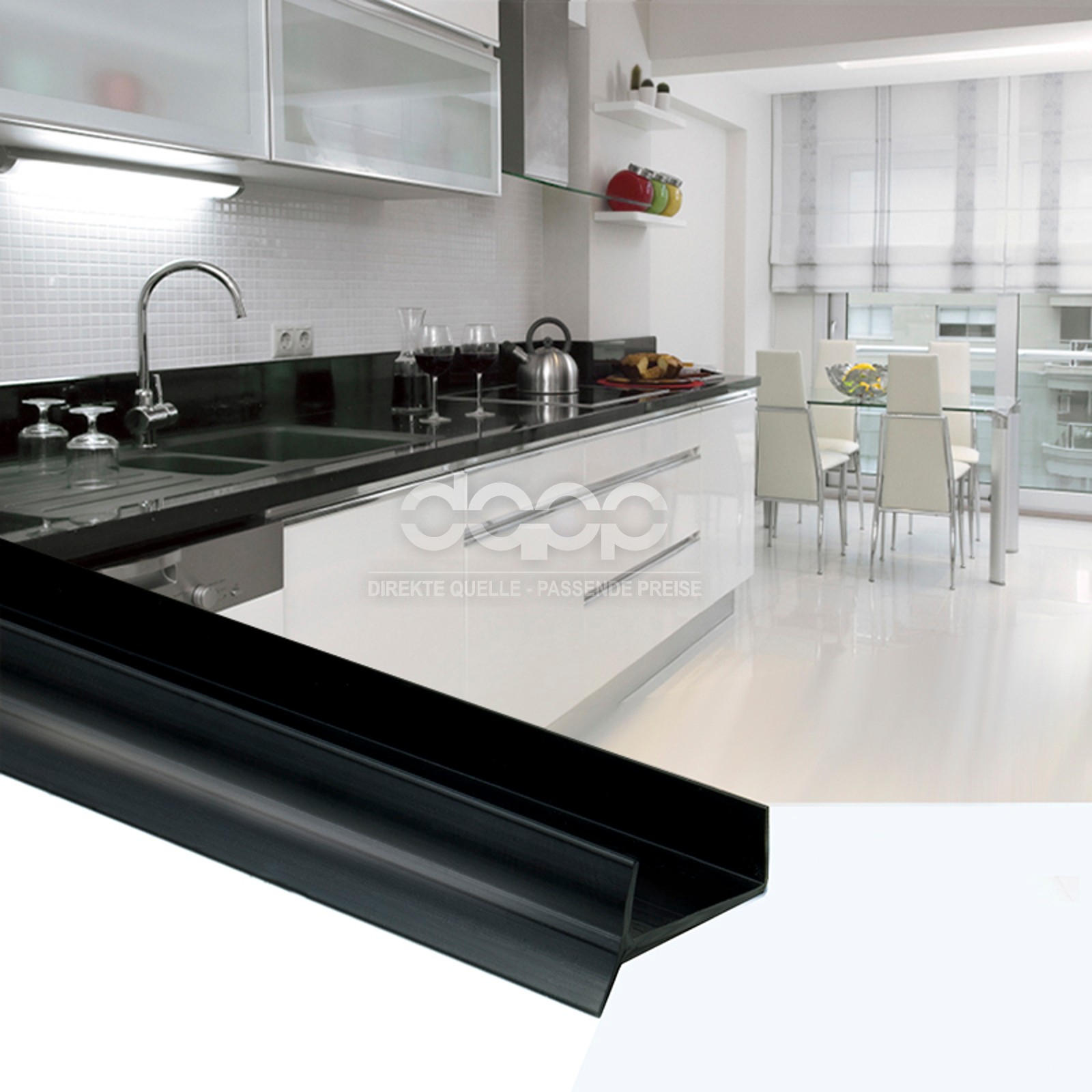 Black Kitchen Worktop Sealing Strip