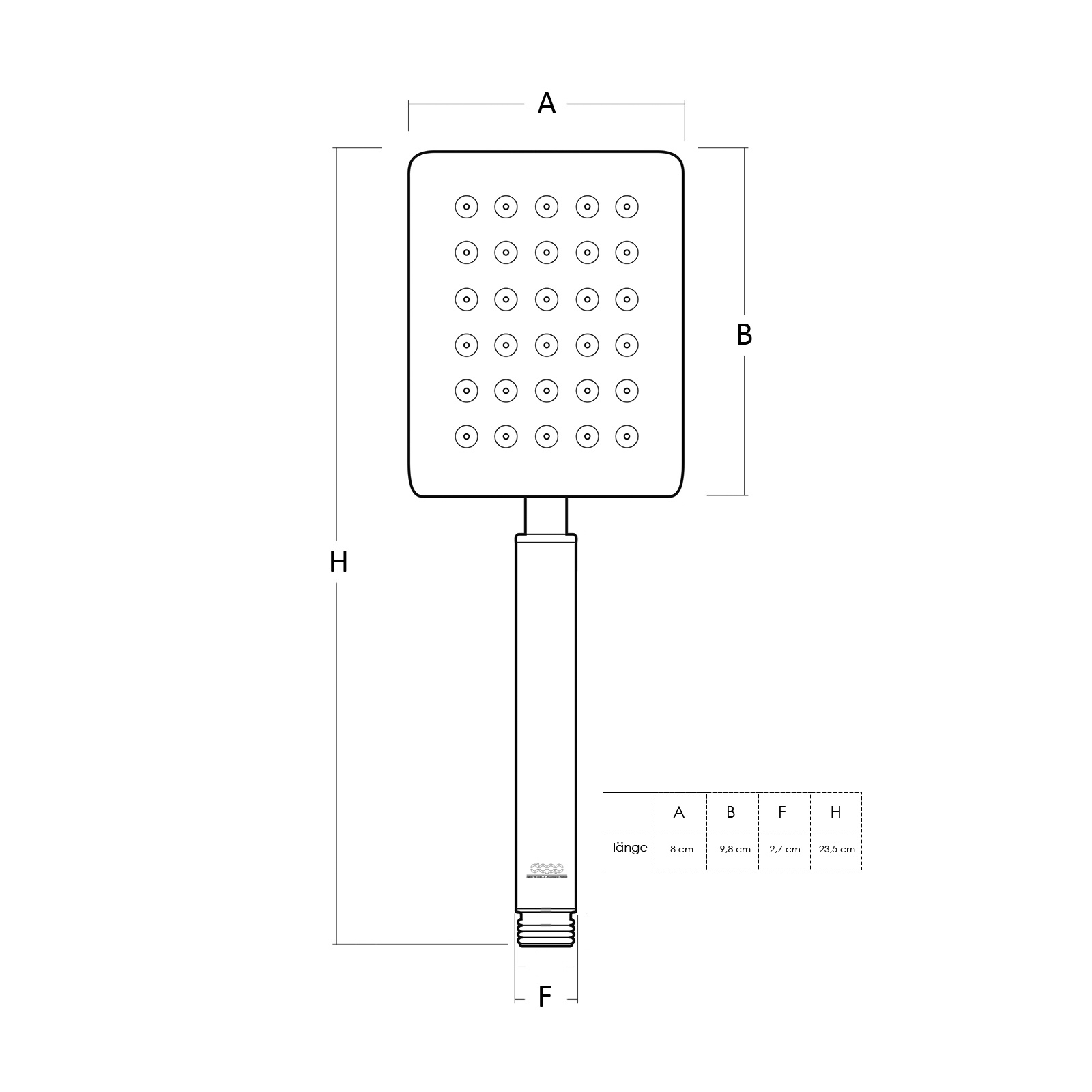 SET 2-Teilig Stabhandbrause mit Brauseschlauch PVC 1500mm Chrom Armatur