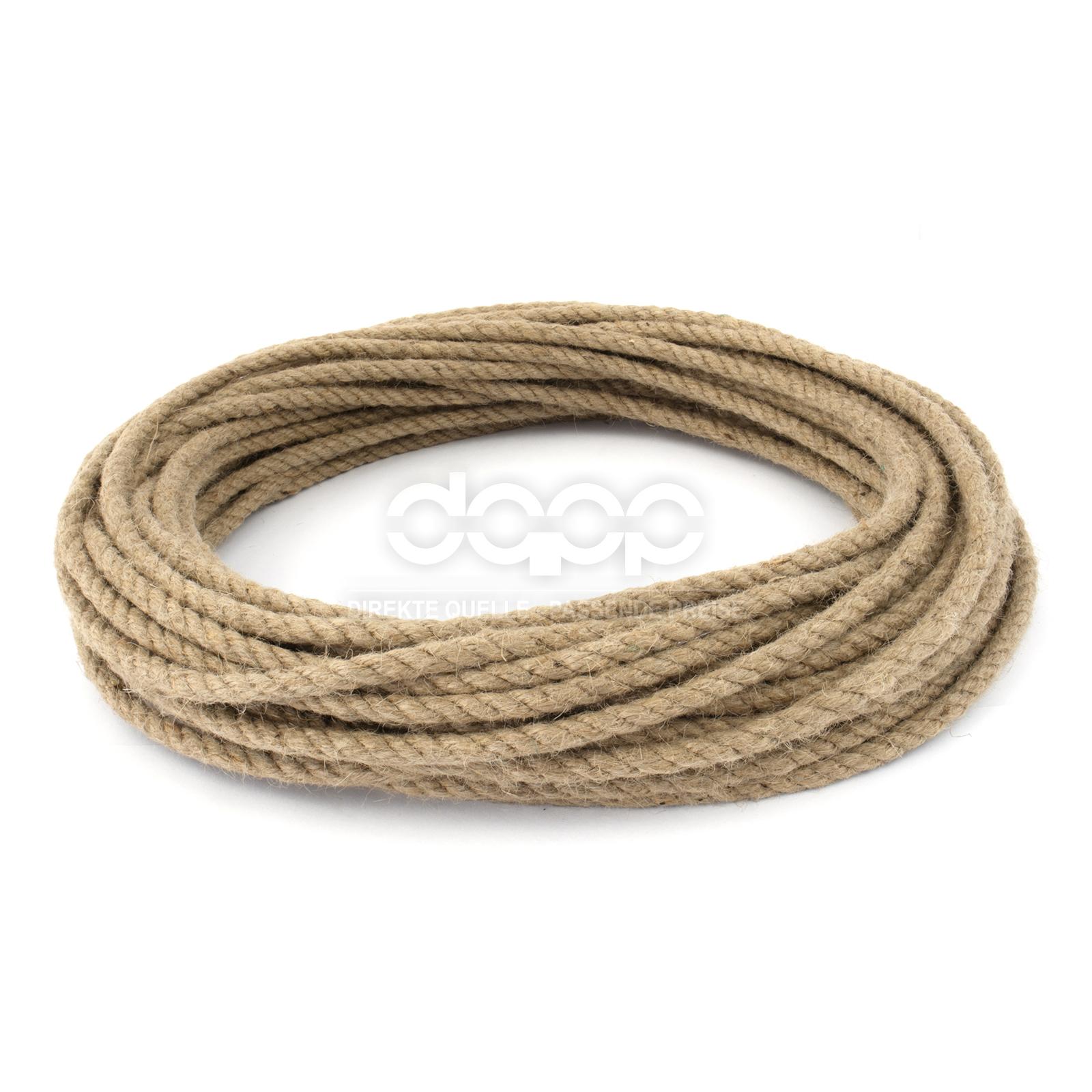 16mm 1-50m CHANVRE fibre naturelle 3 torons cordage impregne CORDE EN JUTE